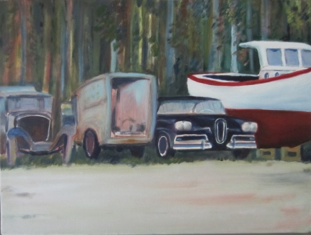 A Ford Edsel in a junkyard in Mount Desert Island (US). Oil on canvas by J.-A. Ruiz Baudrihaye